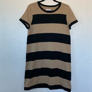 Calvin Klein Black & Camel Striped Knit Dress